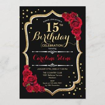 15th Birthday - Black Gold Red Roses