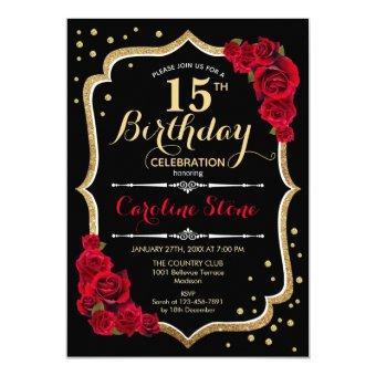 15th Birthday - Black Gold Red Roses