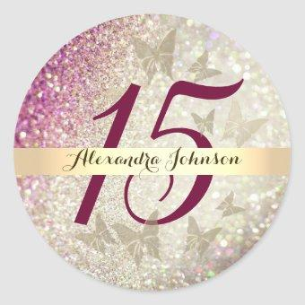 15th Birthday Glitter Pink and Gold Butterfly Classic Round Sticker