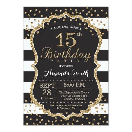 15th Birthday . Black and Gold Glitter