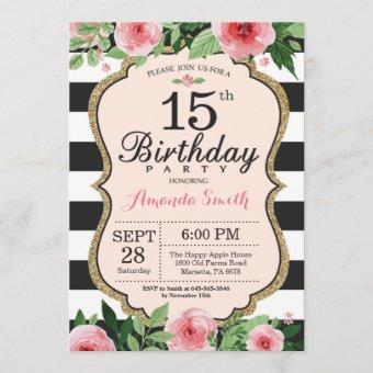 15th Birthday . Floral Pink Gold Black