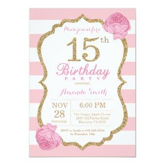 15th Birthday Pink and Gold Floral