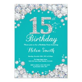 15th Birthday Teal and Silver Diamond