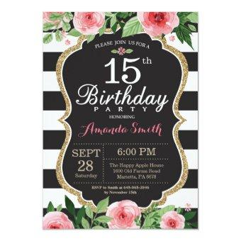 15th Birthday Women. Floral Gold Black