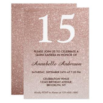 15th Birthday Pink Rose Gold Glitter Quinceañera
