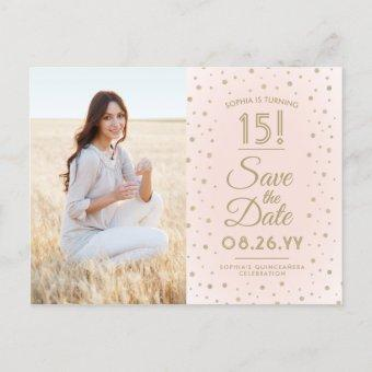 2 Photo Blush Pink Gold Save the Date Post