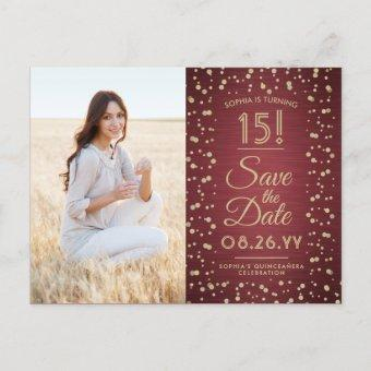 2 Photo Burgundy Gold Save the Date Post