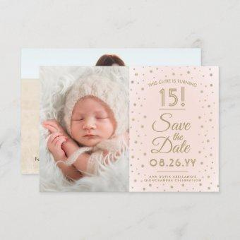 2 Photo Chic Blush Pink Gold Glitter Save The Date