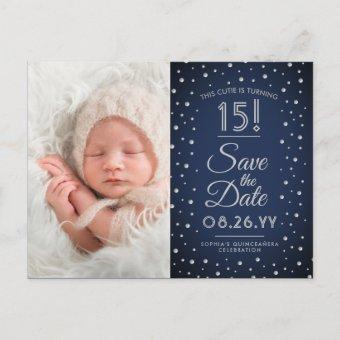 2 Photo Chic Navy Blue Save the Date Post