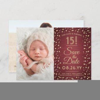 2 Photo Elegant Burgundy Gold Glitter Save The Date