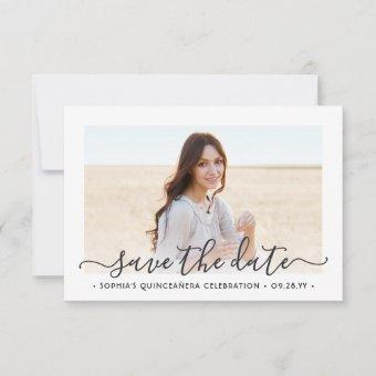2 Photo Elegant Script 15th Birthday Save The Date