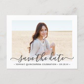 2 Photo Elegant Script Save the Date Announcement Post