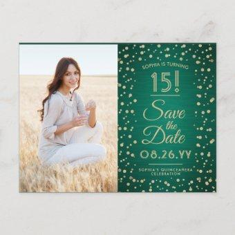 2 Photo Green and Gold Save the Date Post