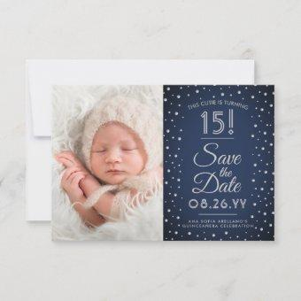 2 Photo Navy Blue Confetti Sparkle Save The Date