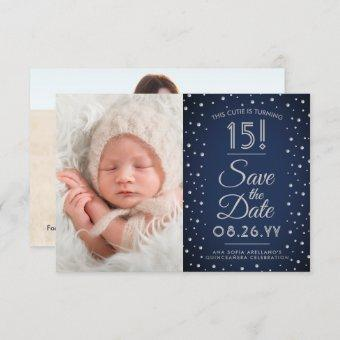2 Photo Navy Blue Confetti Sparkle Save The Date
