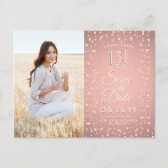 2 Photo Pink Rose Gold Save the Date Post