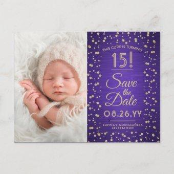 2 Photo Purple and Gold Save the Date Post