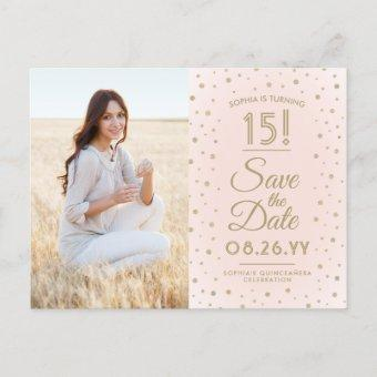2 Photo Save the Date Pink and Gold Post