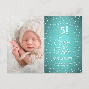 2 Photo Teal Blue Silver Save the Date Post