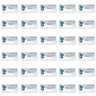 30 Individual Guest Names Blue Butterfly Stickers