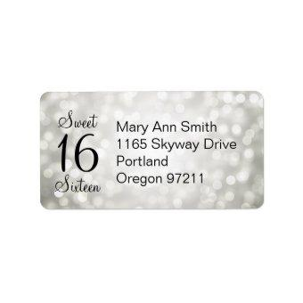 Address Sweet 16 Birthday Silver Glitter Lights Label