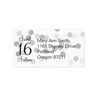Address Sweet 16 Faux Silver Foil Glitter Lights Label