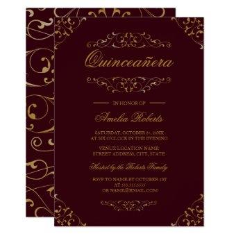 Antique Burgundy Gold Flourish Invite