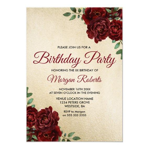 Any Age Gold Foil Burgundy Rose Birthday Party