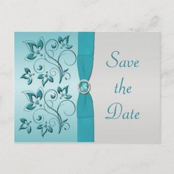 Aqua and Silver Save the Date