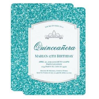 Aqua Glitter Quinceañera