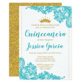Aqua Lace and Glitter Gold Princess Quinceañera