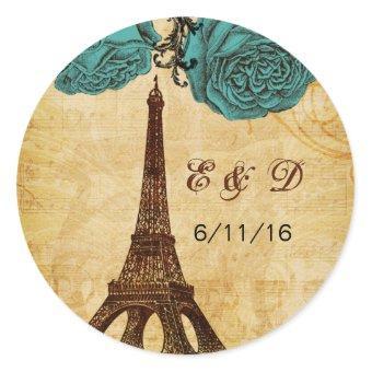aqua vintage eiffel tower Paris envelopes seals