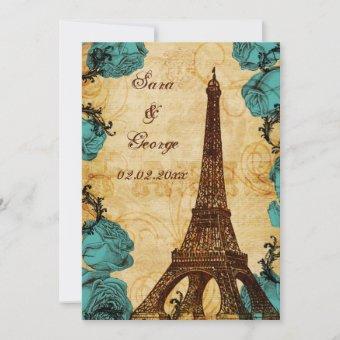 aqua vintage eiffel tower Paris save the date