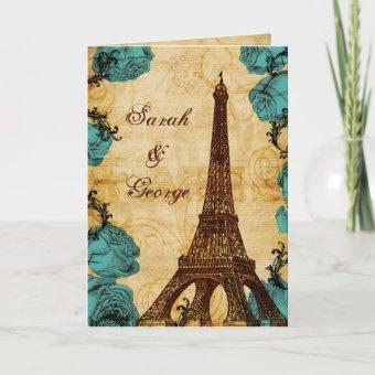 aqua vintage eiffel tower Paris thank you