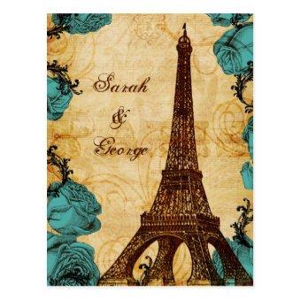 aqua vintage eiffel tower Paris thank you Post