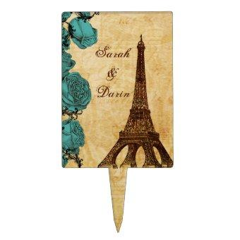 aqua vintage eiffel tower Paris wedding cake picks