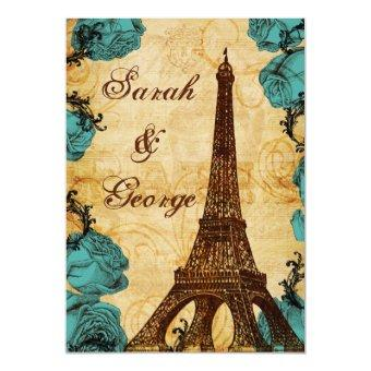 aqua vintage eiffel tower Paris wedding invite