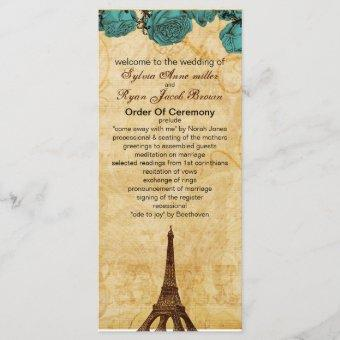 aqua vintage eiffel tower Paris wedding program