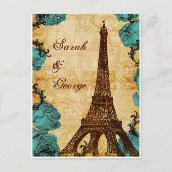 aqua vintage eiffel tower Paris wedding rsvp Post
