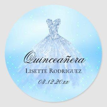 Baby Blue Personalized Classic Round Sticker