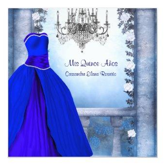 ball gown royal navy blue rose - Royal Blue Quinceanera Invitations