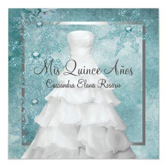 Ball Gown Teal Blue Winter Snowflakes