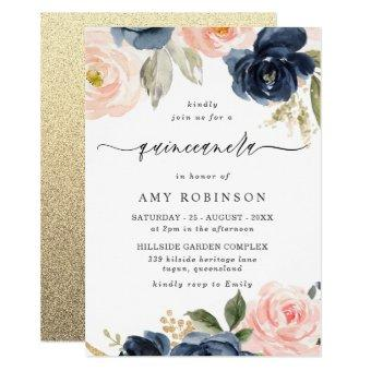 Beautiful Blush & Navy Flowers Party