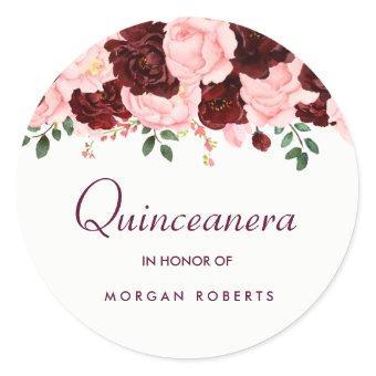 Beautiful Blush Pink Burgundy Floral Classic Round Sticker