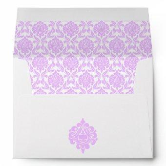 Beautiful Lavender Damask Pattern Envelope