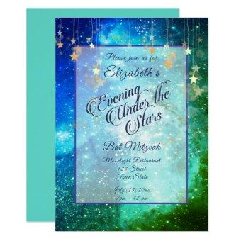 Beautiful Under the Stars Blue Green Bat Mitzvah