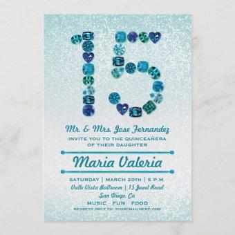 Bejeweled 15th Birthday Quinceañera Party Invites