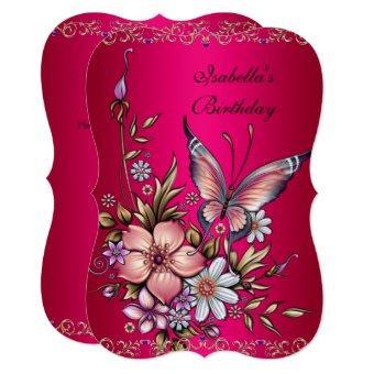 Birthday Elegant Pink Fushia Floral Butterfly