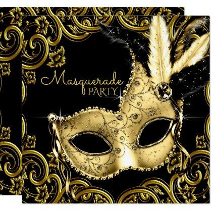 Black and Gold Feather Mask Masquerade Party