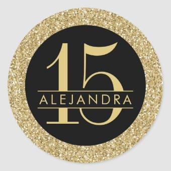 Black and Gold Glitter Quince Años Sticker Label